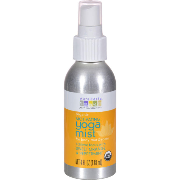 Aura Cacia Organic Yoga Mist - Motivating Sweet Organe And Peppermint - 4 Oz - Vita-Shoppe.com
