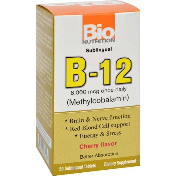 Bio Nutrition B12 Sublingual - 6000 Mcg - 50 Tablets - Vita-Shoppe.com