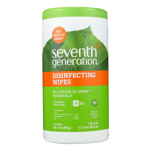 Seventh Generation Disinfecting Wipes Lemongrass And Citrus - 70 Wipes - Vita-Shoppe.com
