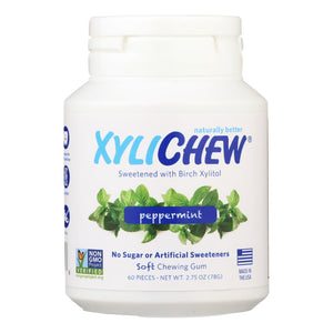 Xylichew Chewing Gum - Sugar Free Peppermint - 60 Piece Jar - Case Of 4 - Vita-Shoppe.com