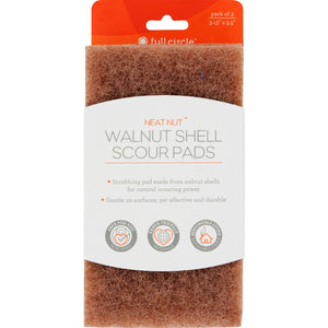 Full Circle Home Scour Pads - Neat Nut Walnut Shell - 3 Ct - Case Of 6 - Vita-Shoppe.com
