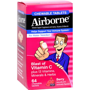 Airborne Chewable Tablets With Vitamin C - Berry - 64 Tablets - Vita-Shoppe.com