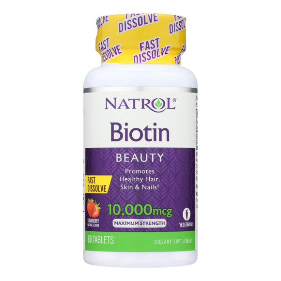 Natrol Biotin - Fast Dissolve - Strawberry - 10000 Mcg - 60 Tablets - Vita-Shoppe.com
