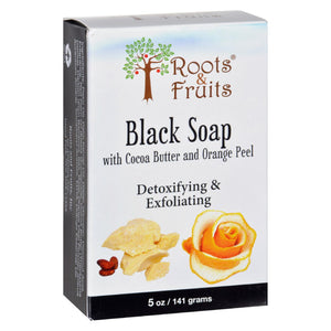 Roots And Fruits Bar Soap - Black Soap - Cocoa Butter And Orange Peel - 5 Oz - Vita-Shoppe.com