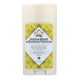 Nubian Heritage Deodorant - All Natural - 24 Hour - Indian Hemp And Haitian Vetiver - With Neem Oil - 2.25 Oz - Vita-Shoppe.com
