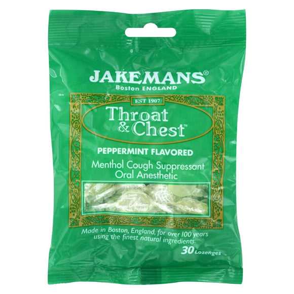 Jakemans Lozenge - Throat And Chest - Peppermint - 30 Count - Vita-Shoppe.com
