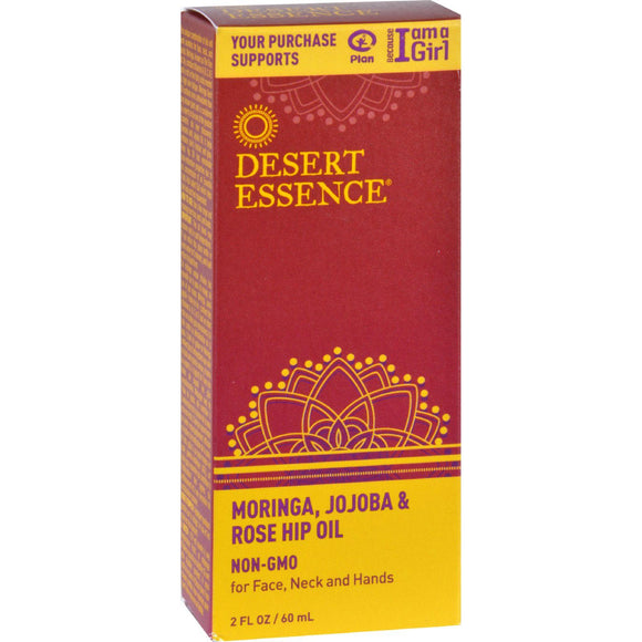 Desert Essence Moringa Jojoba And Rose Hip Oil - 2 Oz