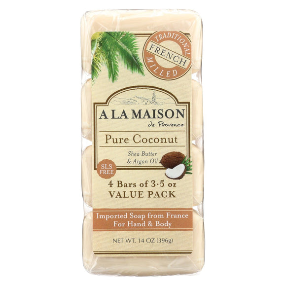 A La Maison Bar Soap - Pure Coconut - 4-3.5 Oz - Vita-Shoppe.com
