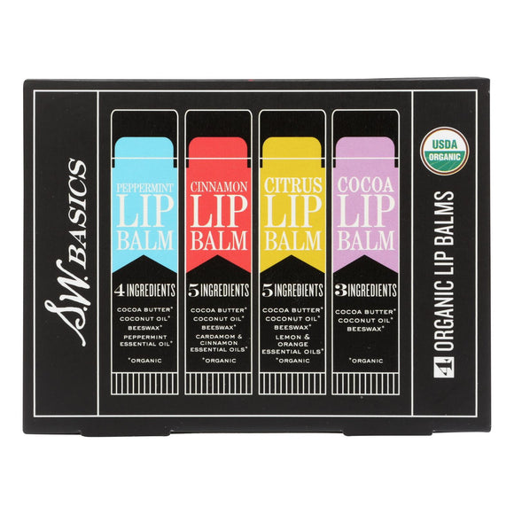 S.w. Basics - Lip Balm - Assorted - 4 Pack - 4 Count