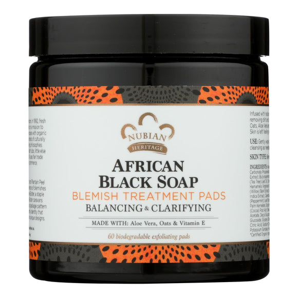 Nubian Heritage Clarifying Pads - African Black Soap - 60 Count - Vita-Shoppe.com