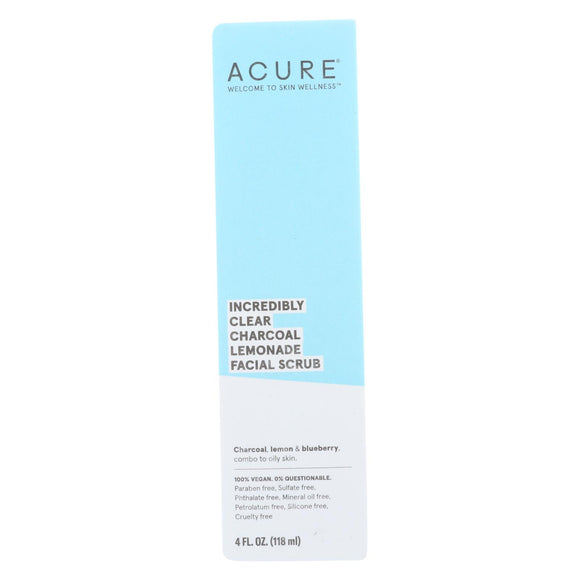 Acure - Charcoal Lemonade Facial Scrub - Incredibly Clear - 4 Fl Oz. - Vita-Shoppe.com