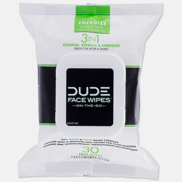 Dude Wipes - Face Wipes - Fragrance Free - 30 Ct. - Energize