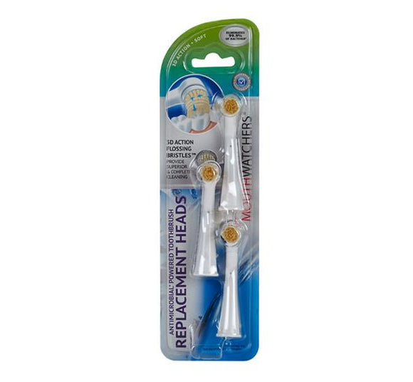 MouthWatchers Power Toothbrush Replacement Heads (3-Pack)