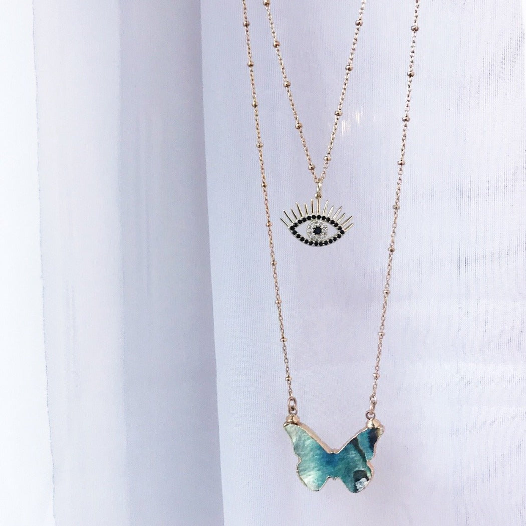 CZ evil eye pendant necklace