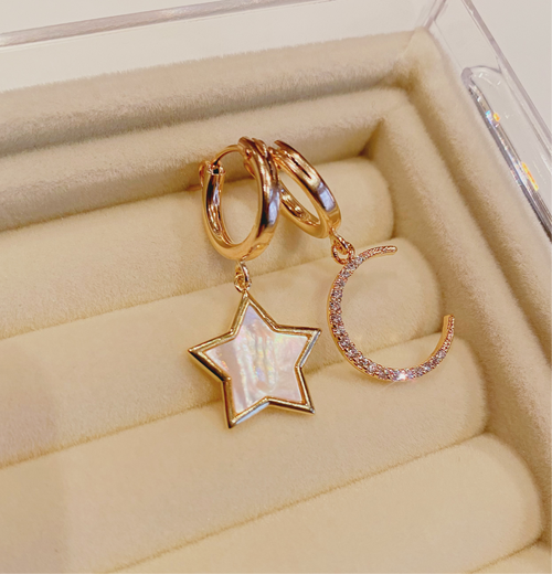Moon and Stars Huggie Earring