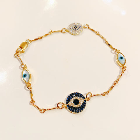 Blue CZ Evil Eye Necklace