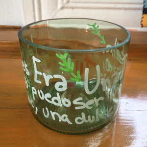 Glass flowerpot recycled crafts by Concienciartrd - artesania RD