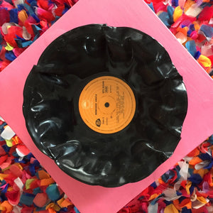 Recycled vinyl record bowl by Kana Rapai