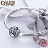 Charm argent ancre marine