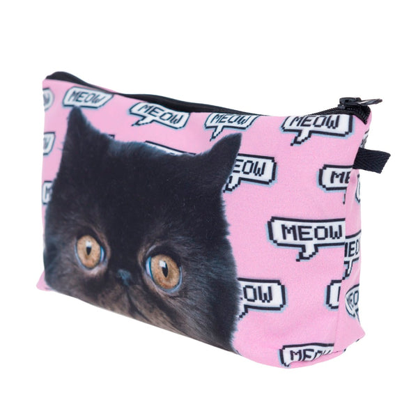 Trousse de maquillage Meow pixel rose