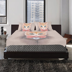 kitten in a suit with a tie 3-Pieces Bedding Set