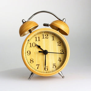 Imitation Wood Twin Bell Alarm Clock