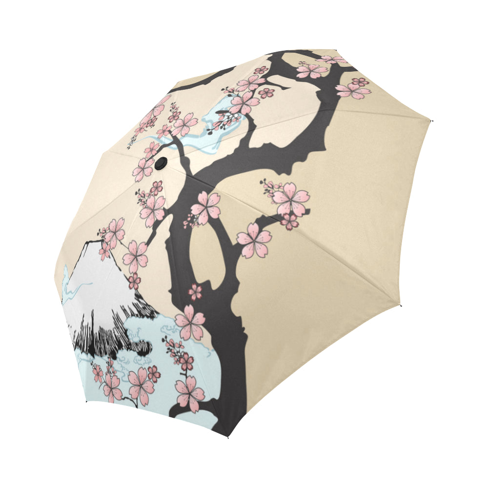 Mountain And Tree Auto-Foldable Umbrella