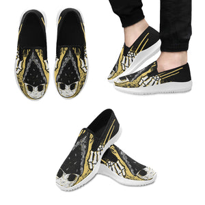 Skull Flips the Bird Orion Slip-on Men's Canvas Sneakers (Model 042)