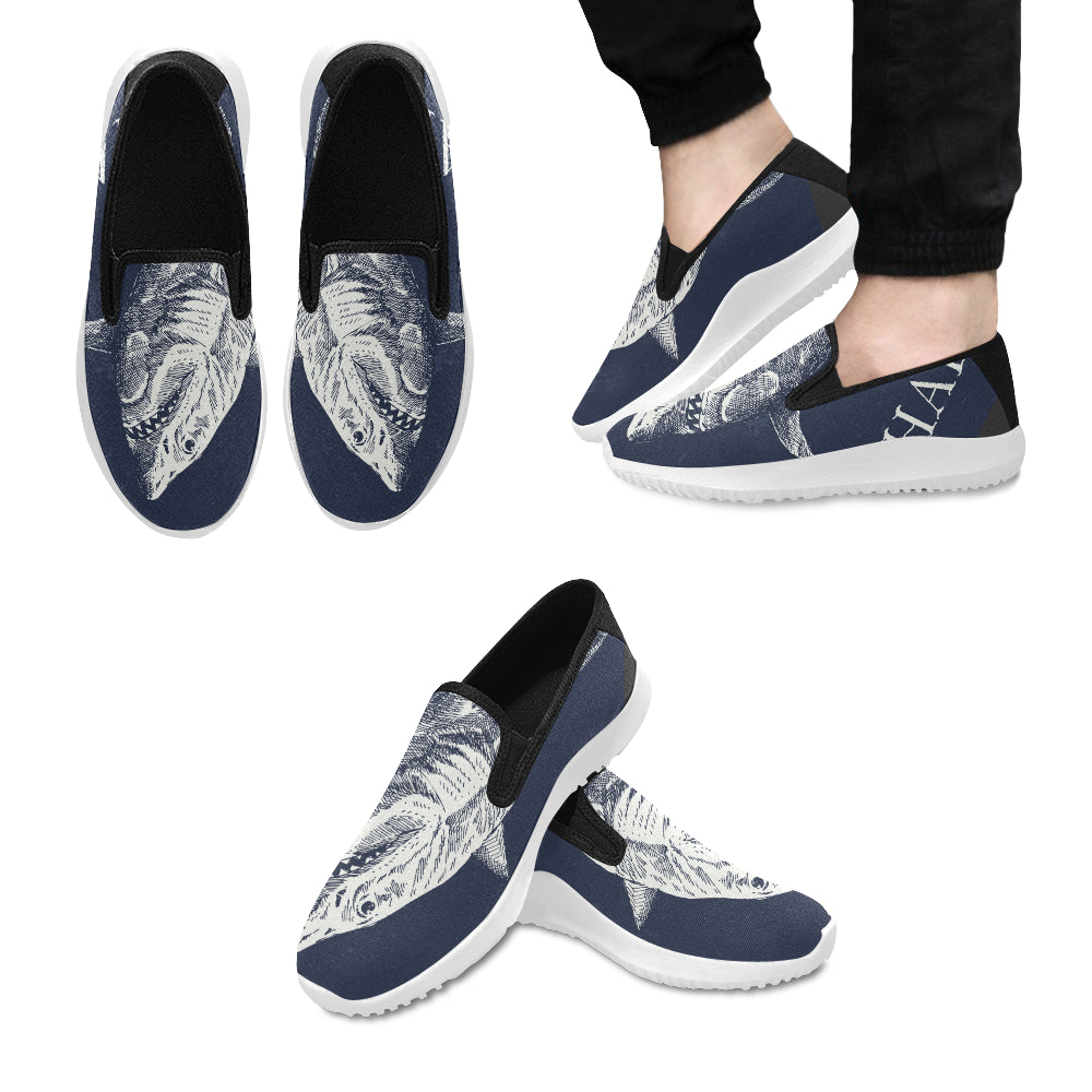 shark Orion Slip-on Men's Canvas Sneakers (Model 042)