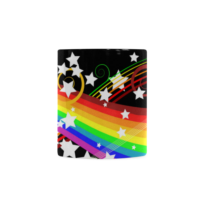 Colorful Rainbow and Flower White Mug(11OZ)