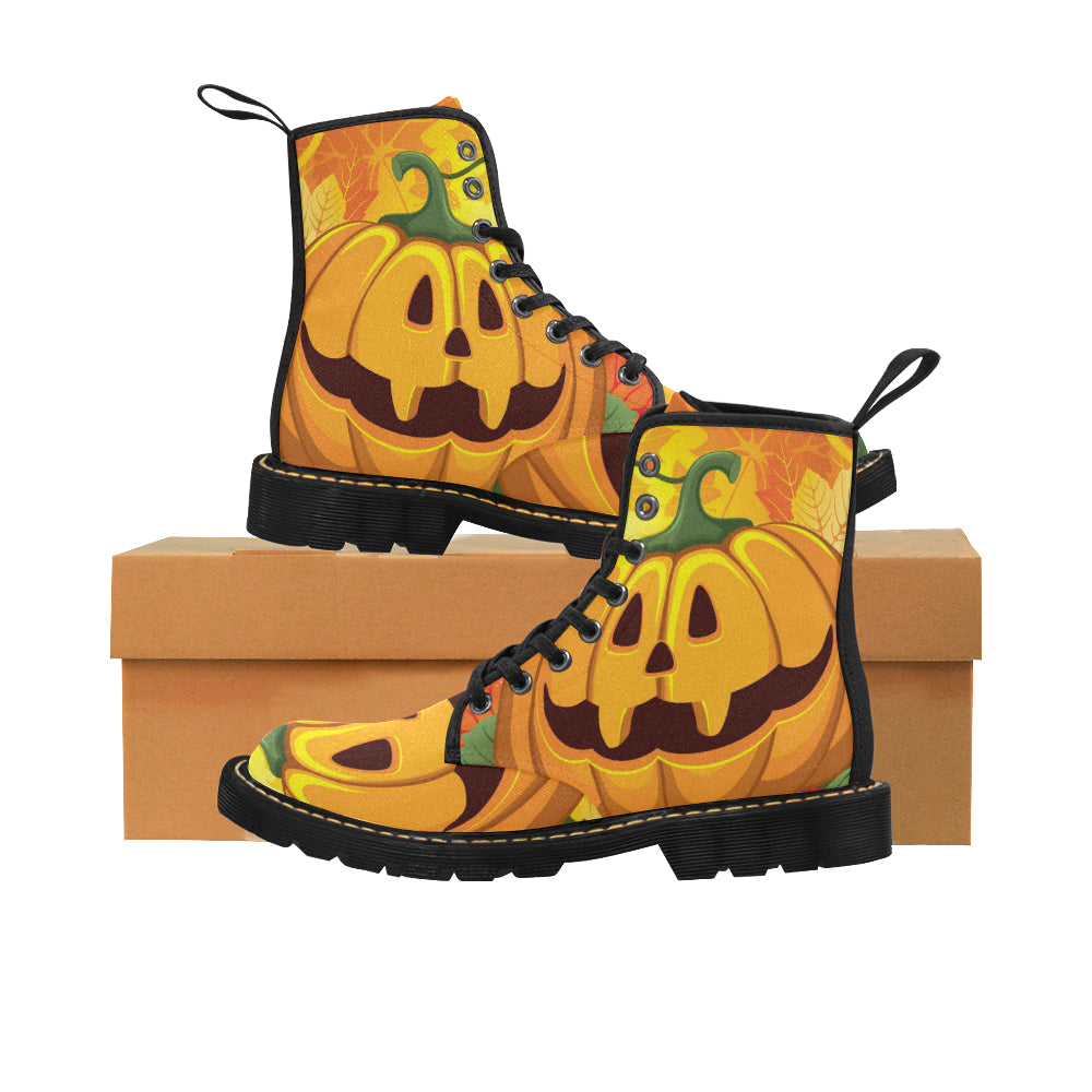 halloween pumpkins Martin Boots for Kids (Black) (Model 1203H)