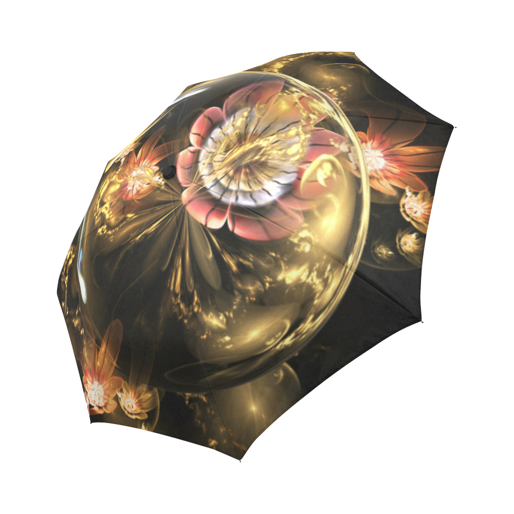 Rose flowers and golden crystals Auto-Foldable Umbrella