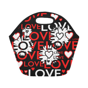 Love words with flowers Neoprene Lunch Bag/Small (Model 1669)