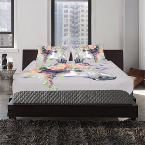 horse in flower wreath 3-Pieces Bedding Set