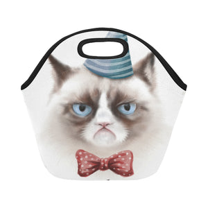 portrait of grumpy cat Neoprene Lunch Bag/Small (Model 1669)