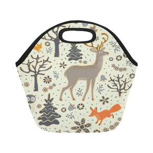 owl deer fox squirrel birds trees and flowers Neoprene Lunch Bag/Small (Model 1669)