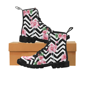 beautiful tropic pink flamingo and rose flowers Martin Boots for Women (Black) (Model 1203H)