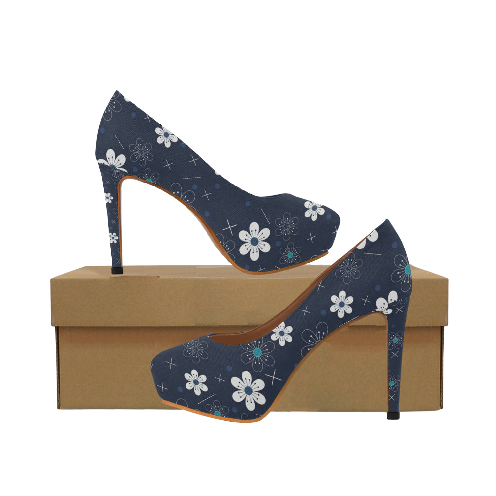blue flower Women's High Heels (Model 044)