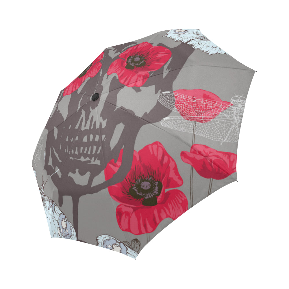 Skull Poppies Butterflies And Dragonflies Auto-Foldable Umbrella