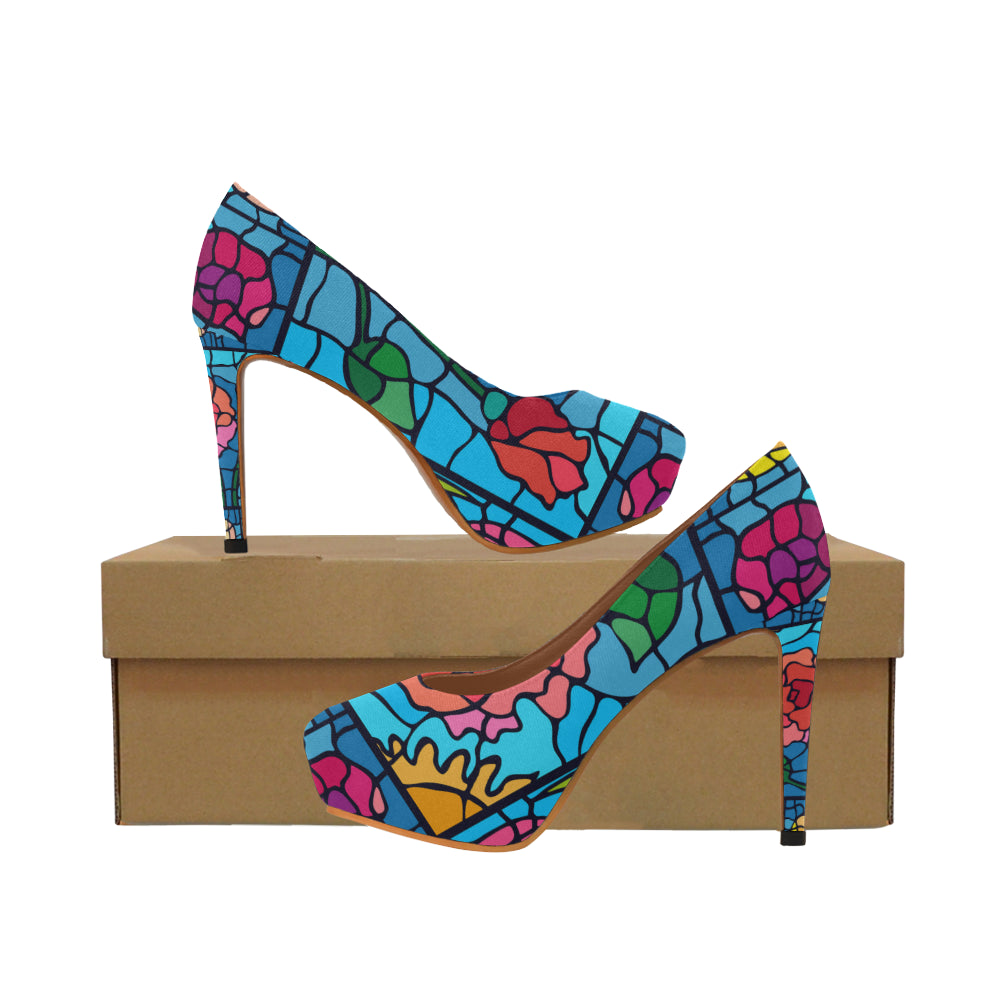 Colorful floral Women's High Heels (Model 044)