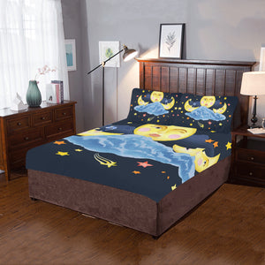 watercolor with moon sun and starsjpg 3-Pieces Bedding Set