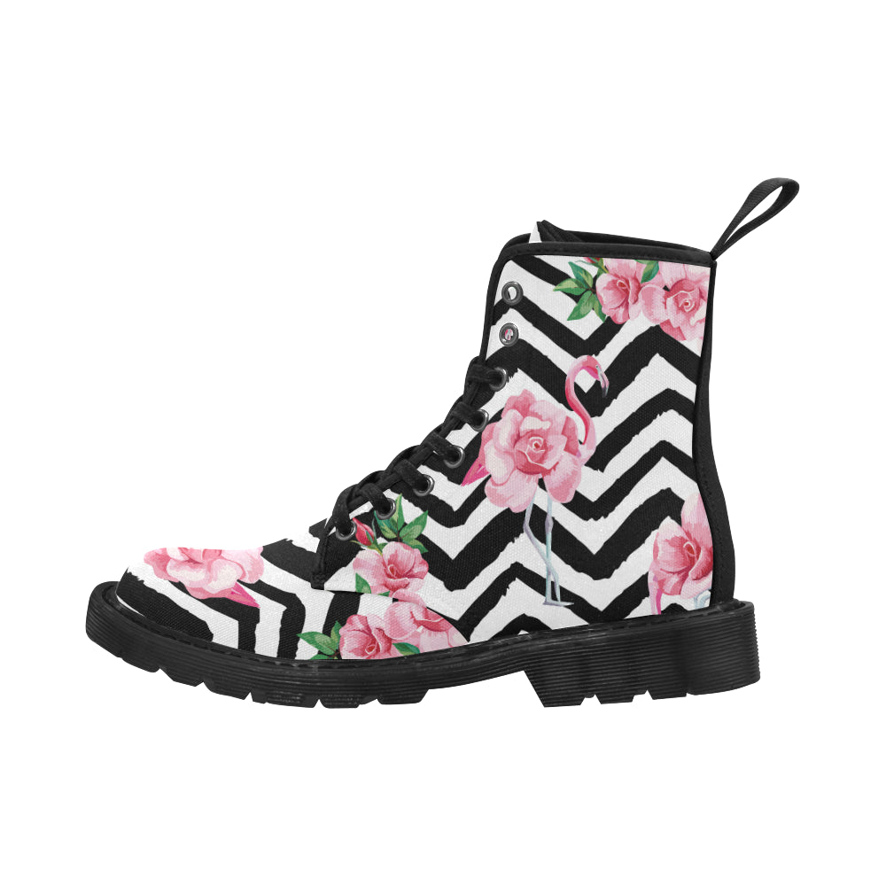 beautiful tropic pink flamingo and rose flowers Print Lace Up Boots For Women