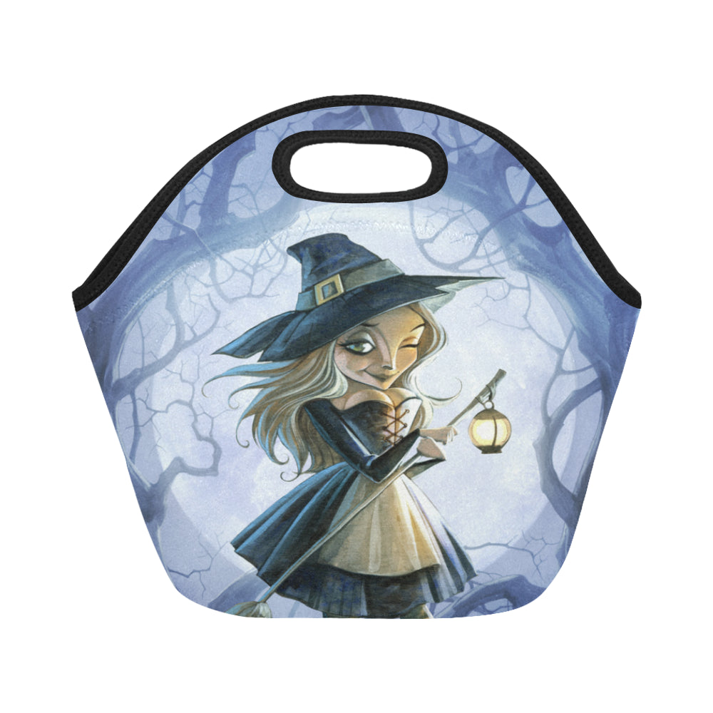 Halloween witch with a broomstick and a lantern Neoprene Lunch Bag/Small (Model 1669)