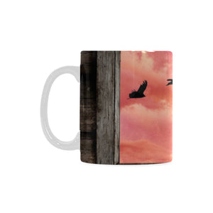 Black Cat Window with Ravens White Mug(11OZ)