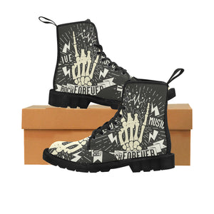 Rock and Roll music hipster Martin Boots for Women (Black) (Model 1203H)
