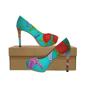 roses butterfly Women's High Heels (Model 044)