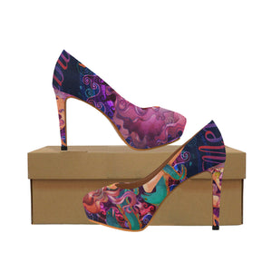 mermaid with muraena fish Women's High Heels (Model 044)