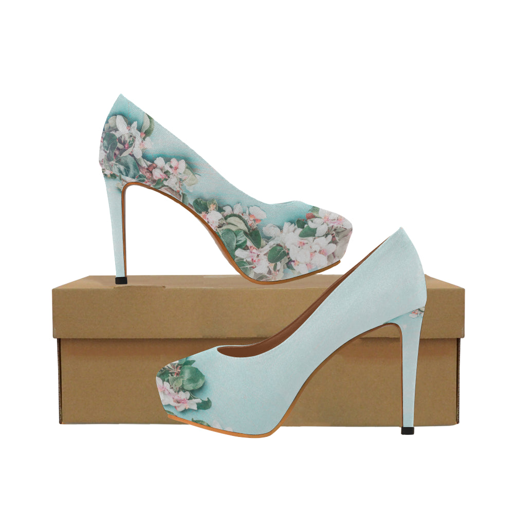 flower blossom Women's High Heels (Model 044)
