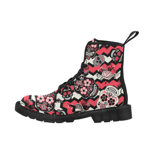Dia de los muertos Day of The Dead Martin Boots for Women (Black) (Model 1203H)