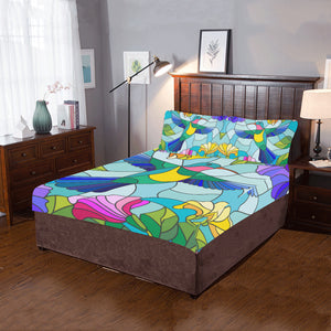 Stained Glass Style With Colorful Hummingbird 3-Pieces Bedding Set